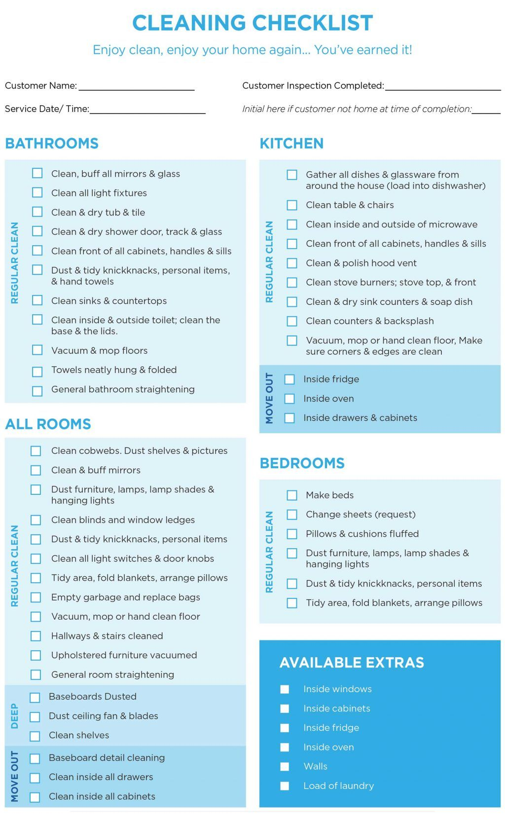 Professional house cleaning checklist template word for