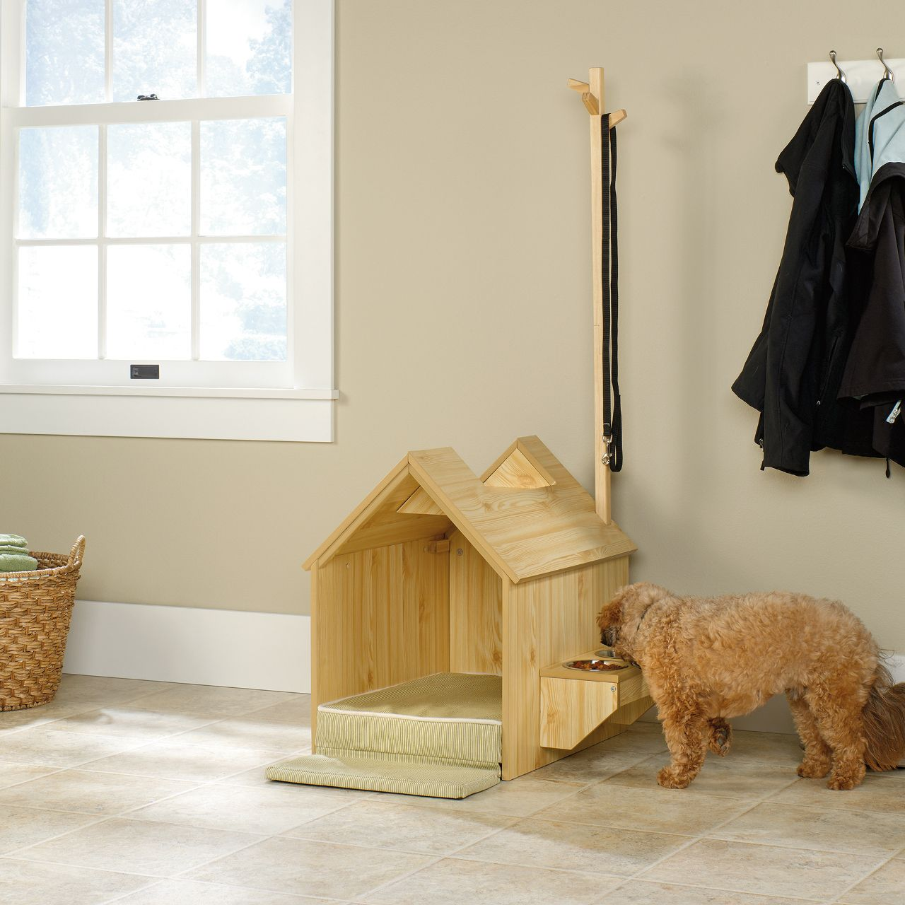 Indoor Dog House And Pet Station From Sauder Dog House Inside
