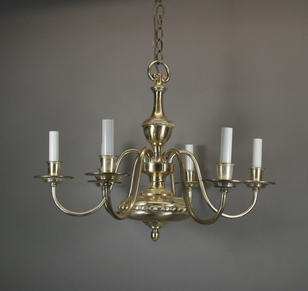 Silver plated sixarm chandelier circa