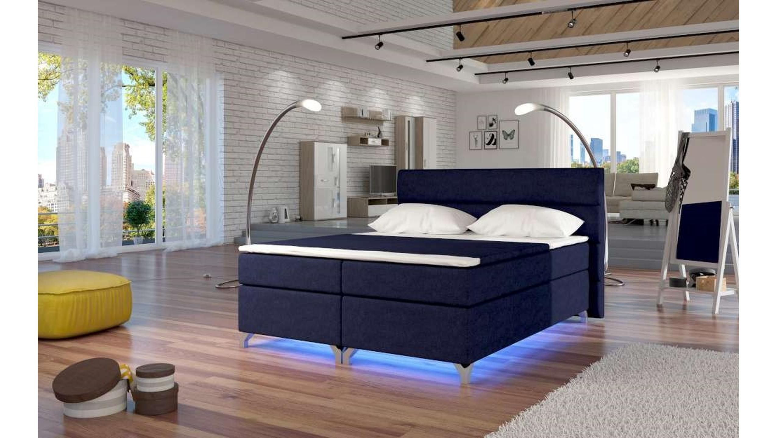 Justyou Amadeo Led Boxspringbett 185x205x126 Cm Blau Schlafzimmer Bedroom Bedroomideas Furniture Bed Bett Boxspringbett Boxspringbett Bett