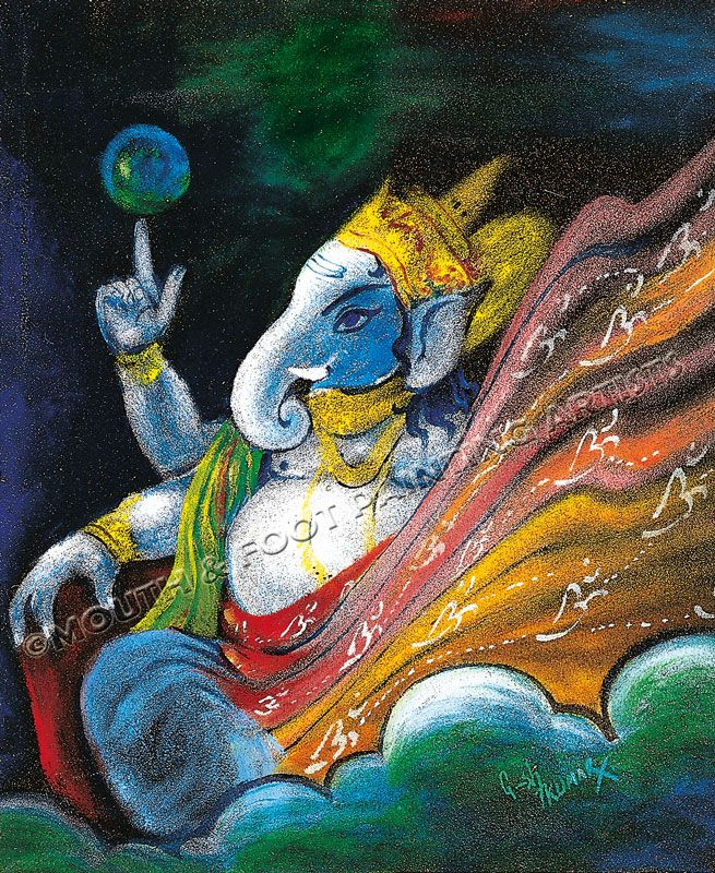 Imfpa Indian Mouth Foot Painting Artists Ganesha Art Lord Ganesha Ganesha Painting