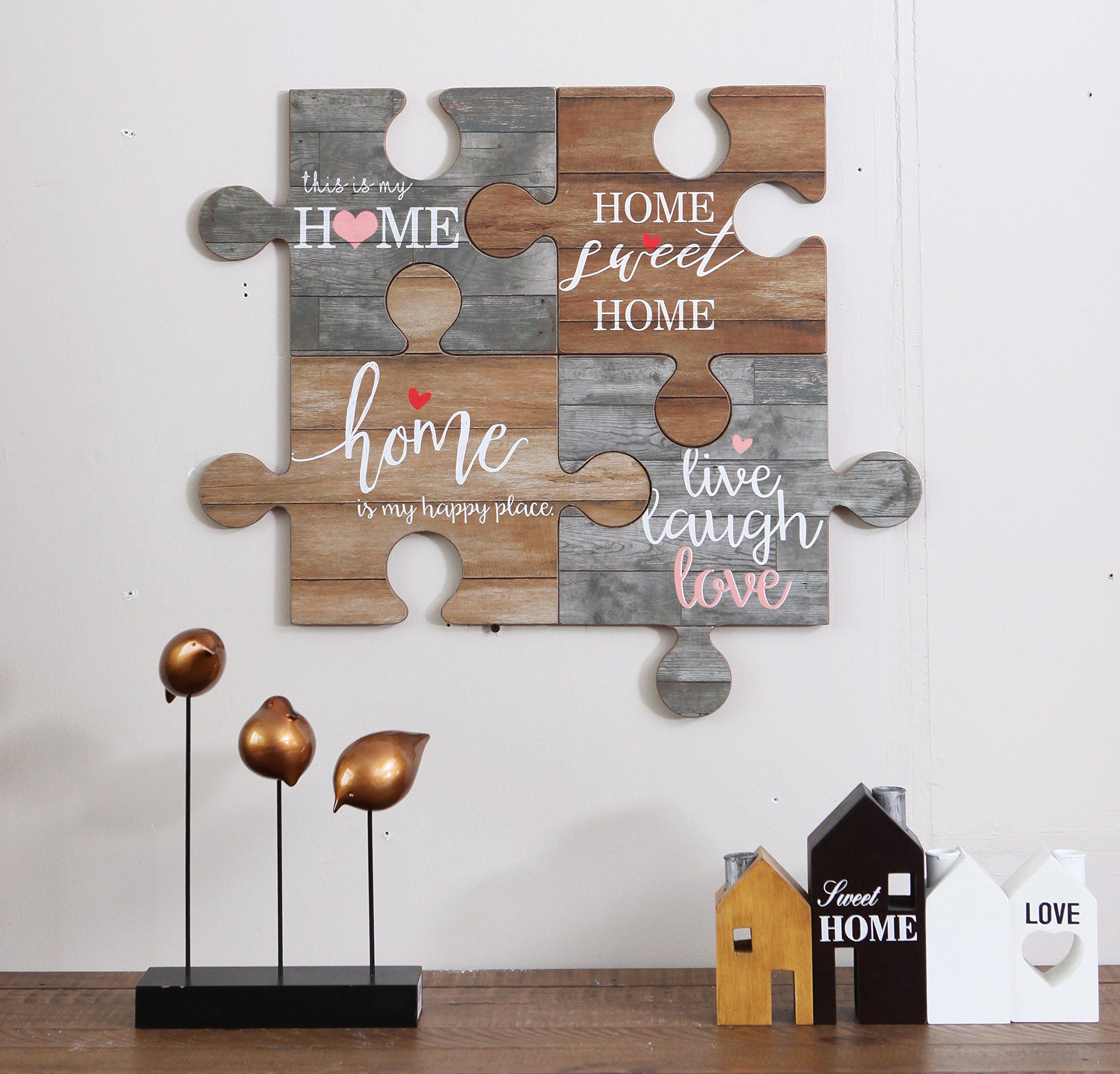 Nikky Home Live Laugh Love Vintage Wood Puzzle Piece Wall Art Sign With Quote You Can Find Out More Details At The Lin Wood Puzzles Vintage Wood Wall Signs