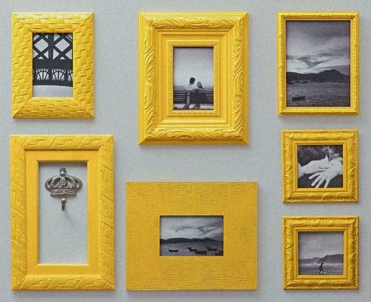 yellow and grey wall decor frames and photos | For the Home ...