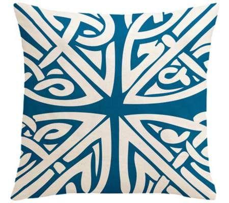 Saffron Sami Ocean Blue 40 Square Down Throw Pillow Stunning Down Decor Pillows