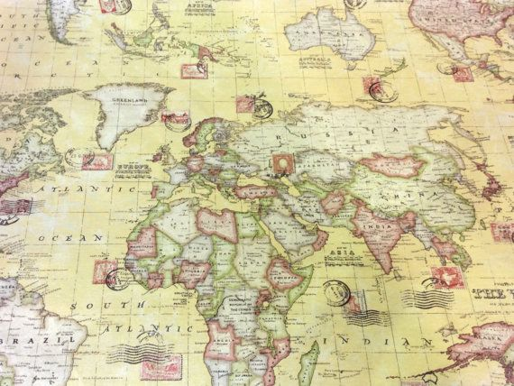 World Map Print Fabric.New World Map Yellow Print With Stamps 100 By Thefabricshopuk