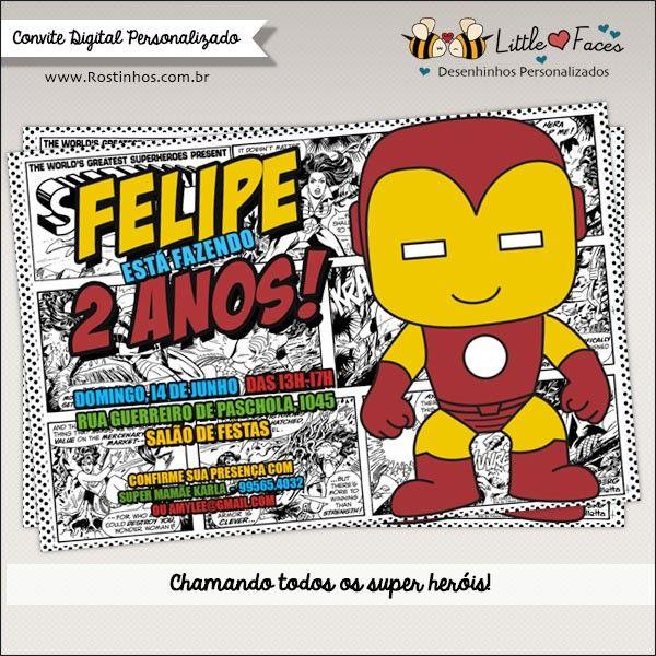 Convite Festa Homem De Ferro Super Heróis Digital Festa Super