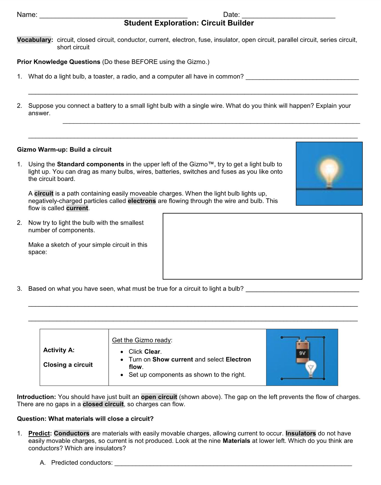 Circuit Builder Student Exploration Worksheet Wednesday
