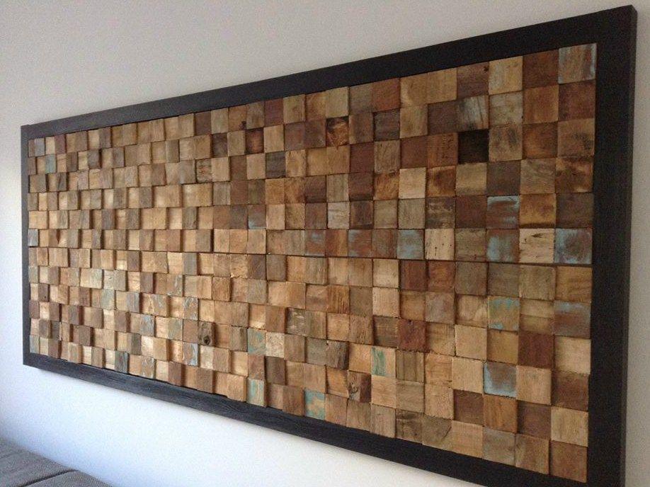 Reclaimed Wood 3d Wall Tile Square By Teakyourwall Mur En Bois Diy Tableau En Bois Et Art Murale En Bois