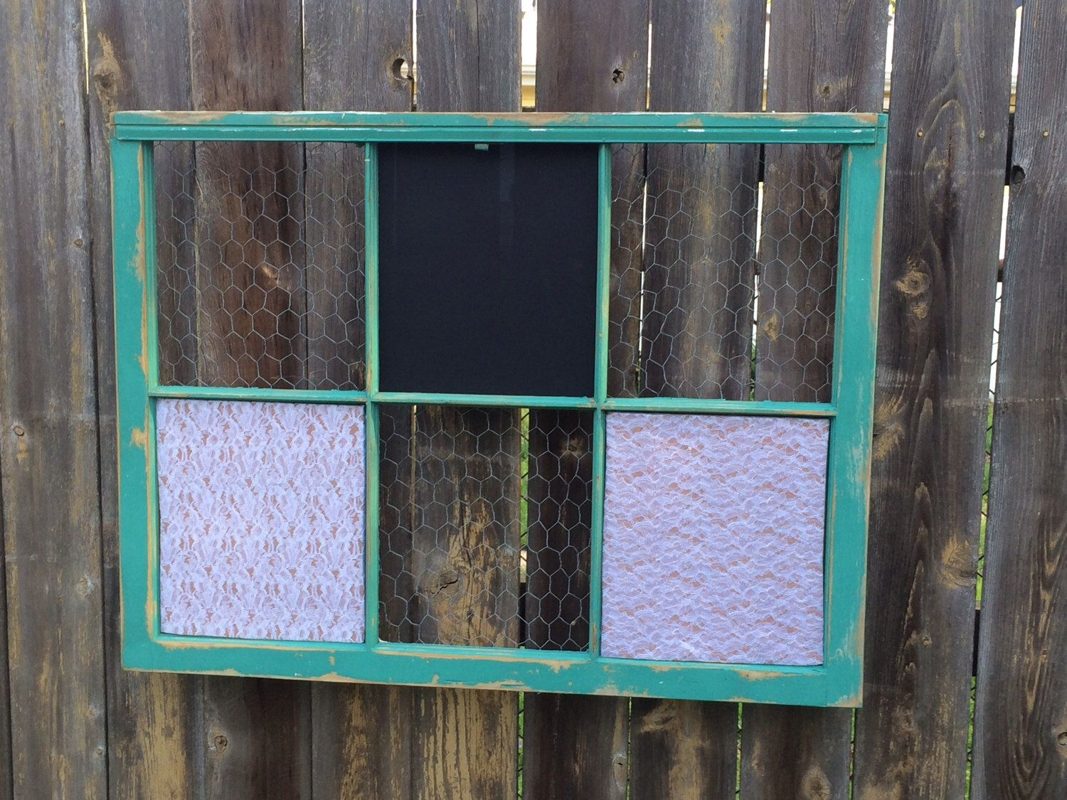 Reclaimed Old Window - Shabby Chic Teal Frame - Chalkboard - Lace ...