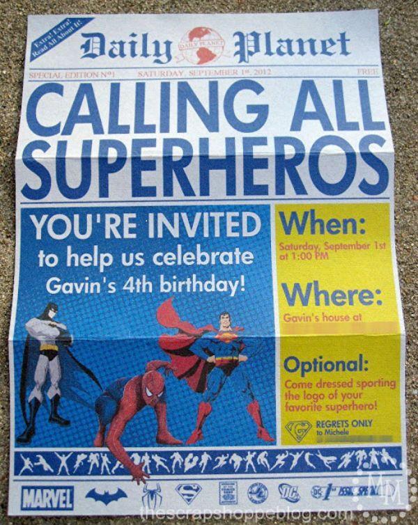 Invitaciones para una fiesta de superhéroes   Fiestas y Cumples