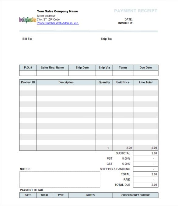 Company Sales Payment Receipt Template Sylvan learning center - customer invoice template excel