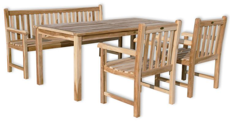 Kmh Teak Gartensitzgruppe Tisch 180 X 90 Cm Stuhle Stuhl Bank Sitzgruppe Holz In Garten Terrasse Mobel Garnituren Sitzg Sitzgruppe Terrassen Stuhle Teak
