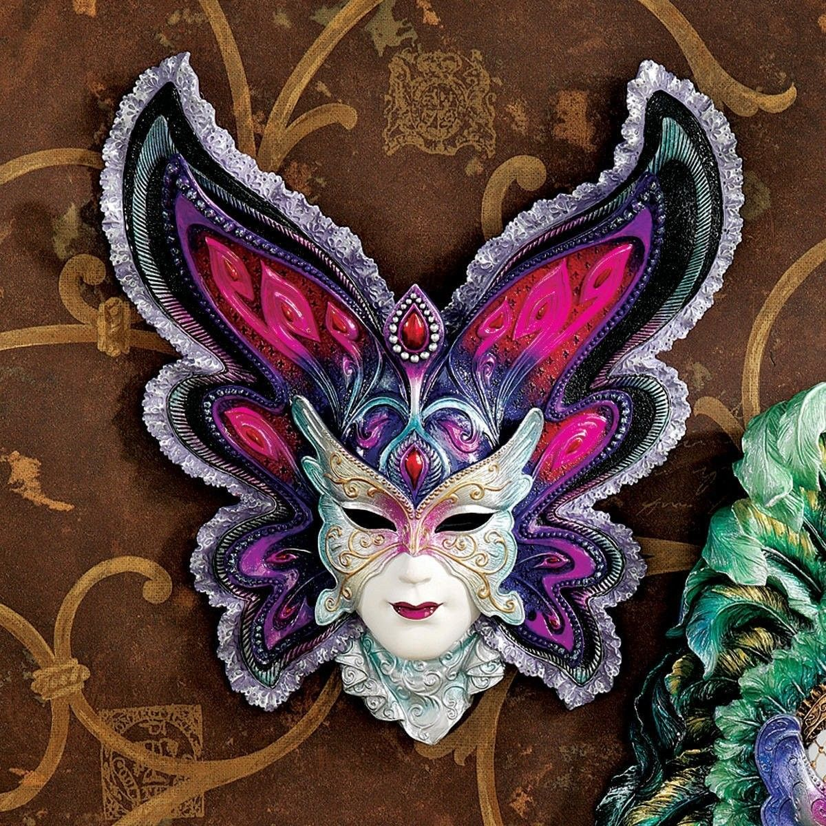 Decor mardi gras decorations with maidens of mardi butterfly and decor mardi gras decorations with maidens of mardi butterfly and mask sculpture and brown wall decor amipublicfo Images