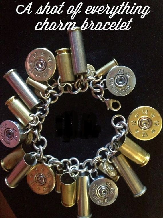 Spent Shell Charm Bracelet by WhistlingPistols on Etsy, $35.00 Make ourselves? Would be more special to use spent shells from our own usage...
