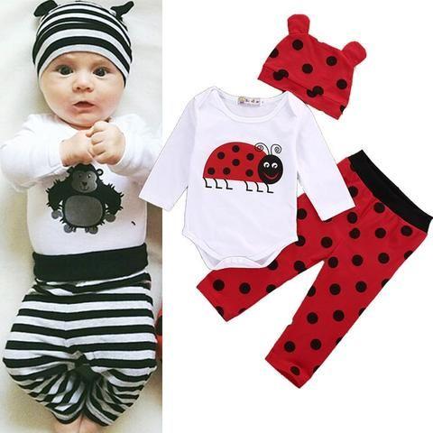 f2e889f33924 3 PCS Autumn Winter Newborn kids long sleeve Ladybugs Gorillas set ...