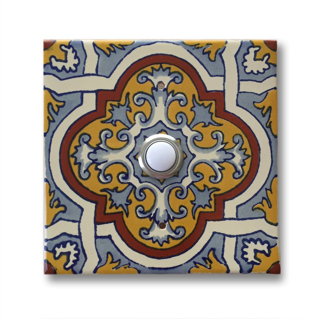 Cad444 4x4 handcrafted ceramic tile doorbell cover with lighted cad444 4x4 handcrafted ceramic tile doorbell cover with lighted push button dailygadgetfo Images