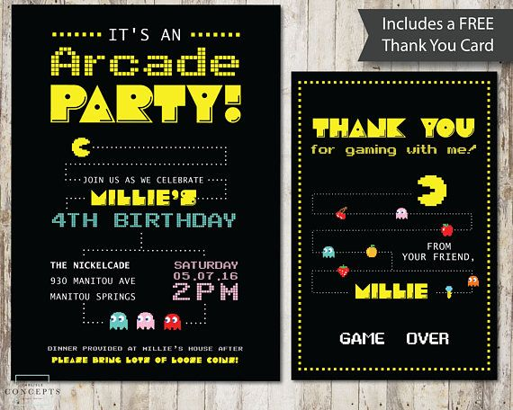 Printable Arcade Birthday Party Invitation And Thank You