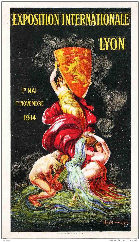 publicite CAPPIELLO    **  EXPO  internationale de Lyon - ouvert : 17 x 40 cm    ** Signé    daté 1913- SUPERBE