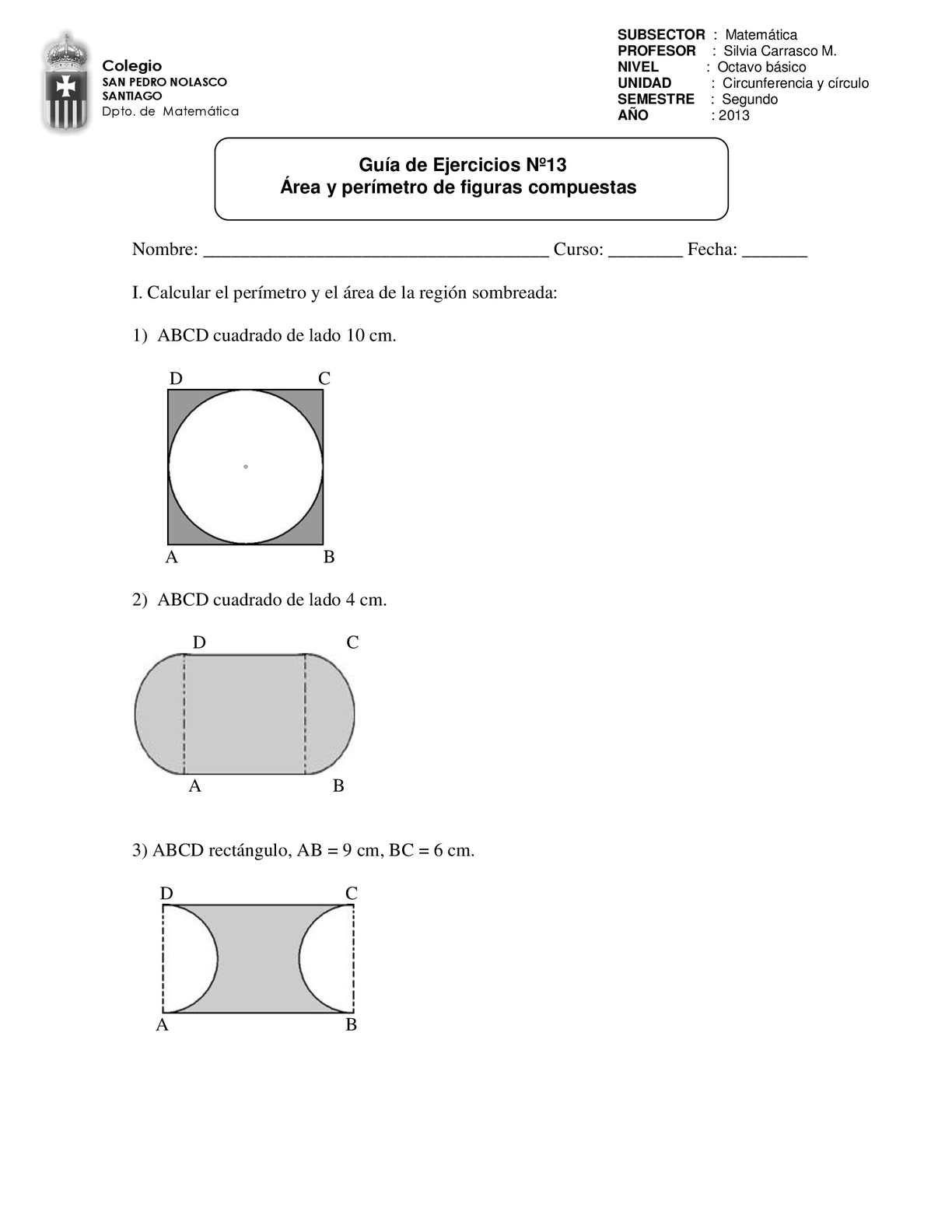 Guia Nº13 Area Y Perimetro De Figuras Compuestas Area Y