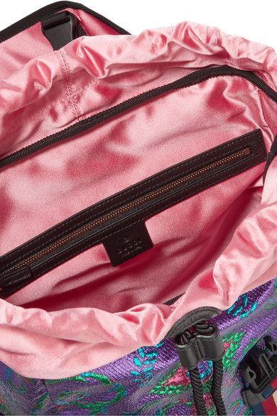 8930780e209 Gucci - Stripe-trimmed Embellished Metallic Brocade Backpack - Purple - one  size