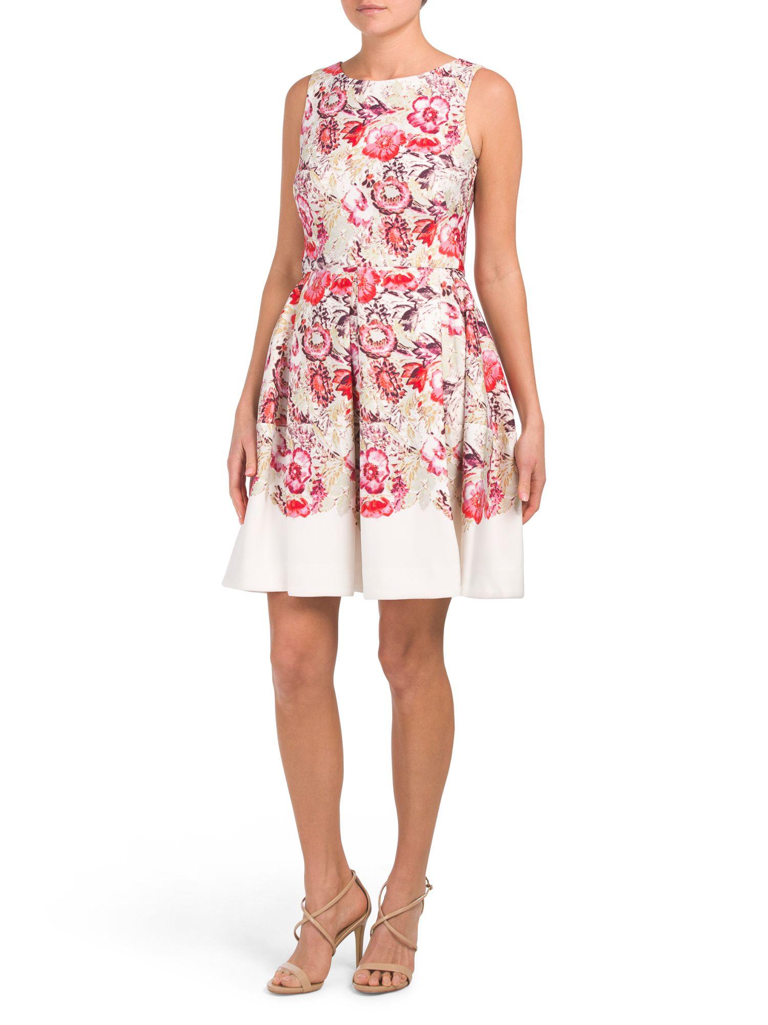 Floral Scuba Pleat Fit Flare Dress New Arrivals T J Maxx Flare Dress Fit Flare Dress Dresses [ 2000 x 1500 Pixel ]