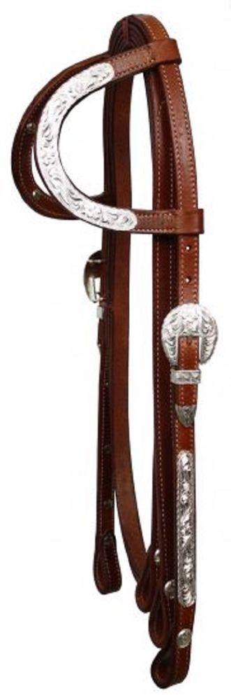 Medium Oil Leather Western Show Bridle Ear Silver Accent W Reins New Horse Tack Leather Silver Headstall Silver Accents