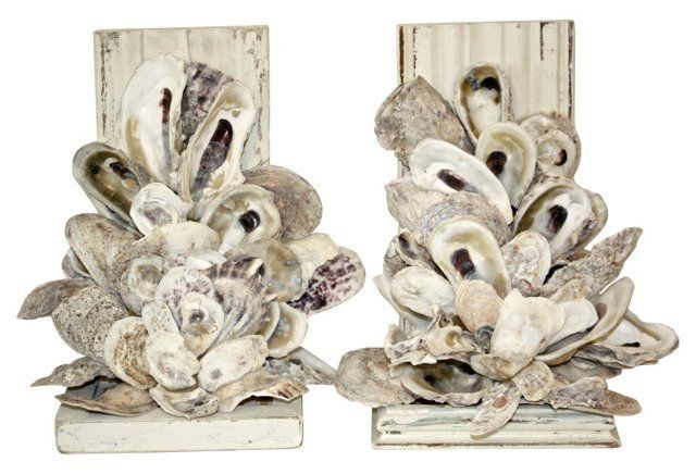 Oyster Shell Bookends Pair Oyster Shell Crafts Oyster Shells Decor Shell Crafts