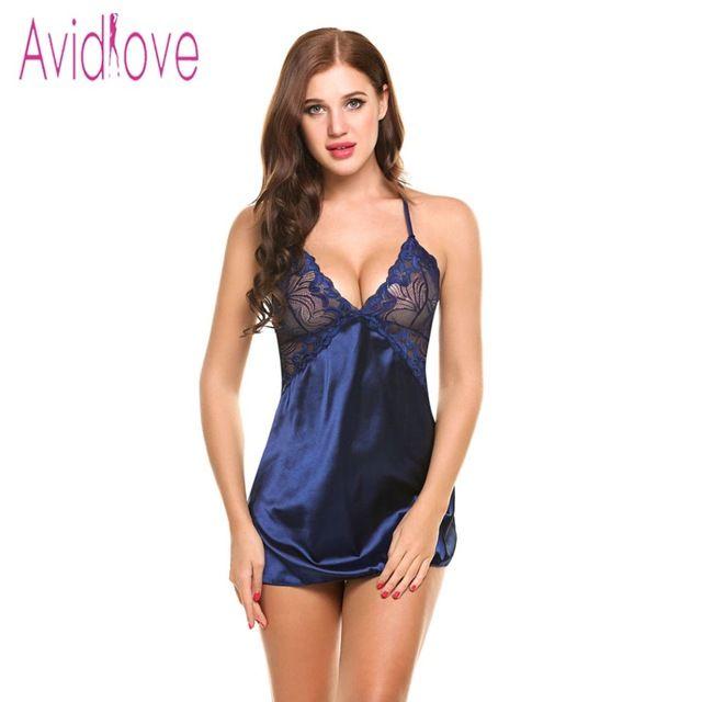 Avidlove Sexy Nightgown Lingerie Fashion Patchwork Nightdress Women Sheer  Scalloped Satin Nightwear Silk Slip Sleepwear Chemises ... 224540b28