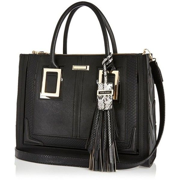 River Island Black large tassel tote handbag (£63) ❤ liked on Polyvore featuring bags, handbags, tote bags, bags / purses, black, shoppers / tote bags, women, faux leather tote, vegan purses and black shopper tote