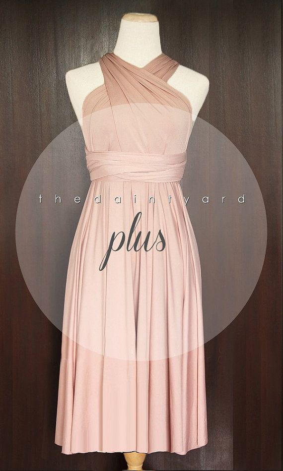 PLUS SIZE Short Straight Hem Nude Pink Bridesmaid by thedaintyard ...