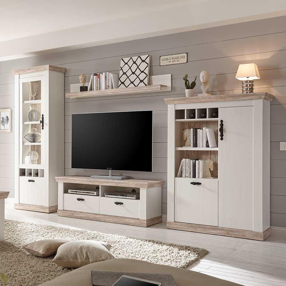 Scandi Landhaus Wohnzimmermöbel Set Nedita in Weiß (8-teilig