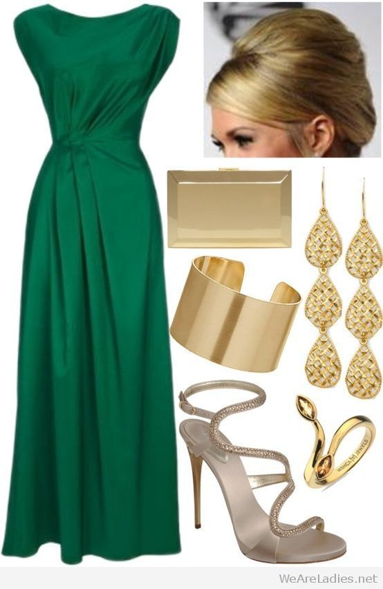 Nice emerald green dress with gold accessories | outfit ideas green ...