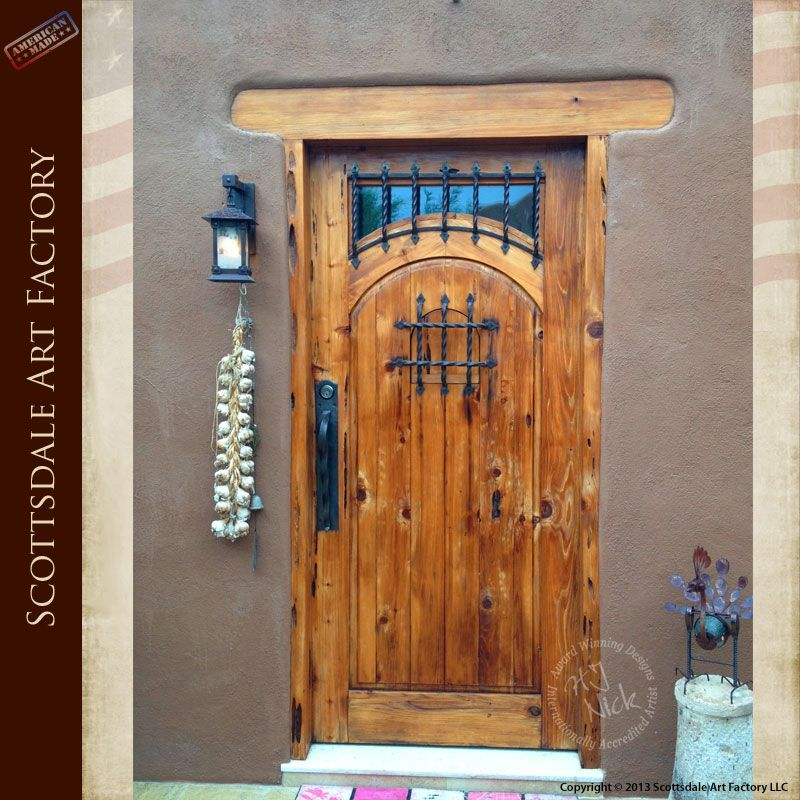 Solid Wood Doors Custom Designed In Rustic Style Includes Above Light Transom And Speakeasy With