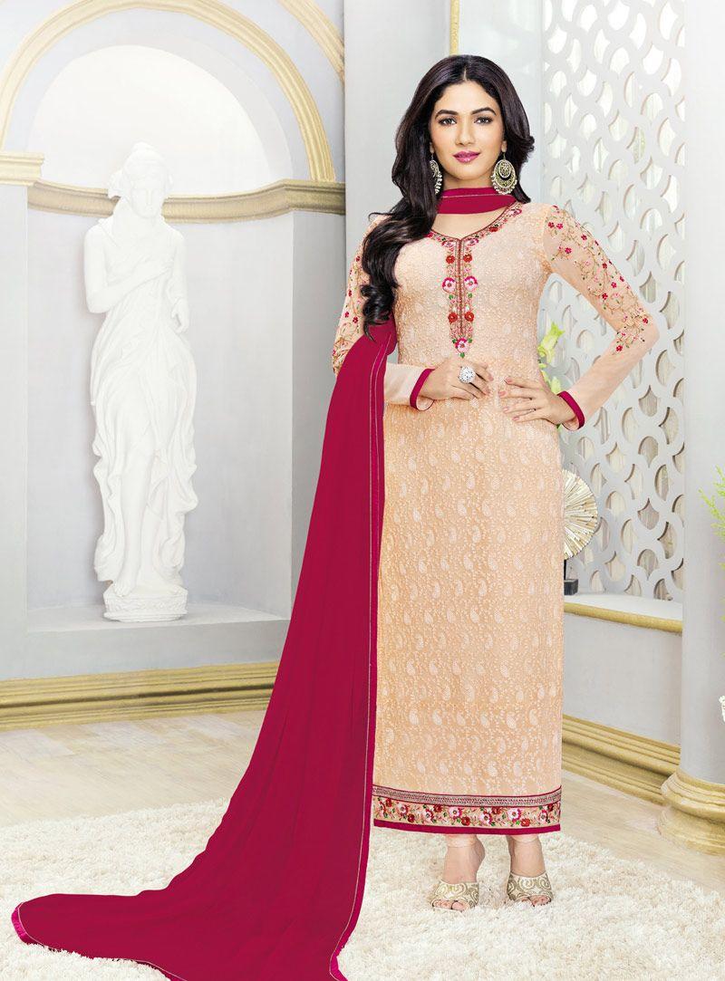 Ridhima Pandit Peach Georgette Straight Cut Salwar Suit 89658