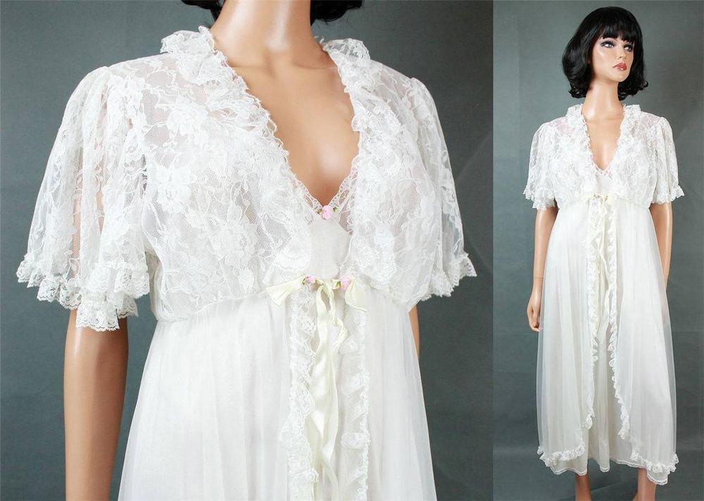 Vintage Peignoir Set L White Chiffon Lace Nightgown Robe Tosca ...
