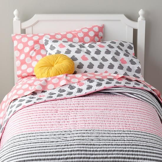 Grey Pink Bunny Bedding The Land Of Nod It Features Dozens Of Printed Bunny Rabbits On Soft
