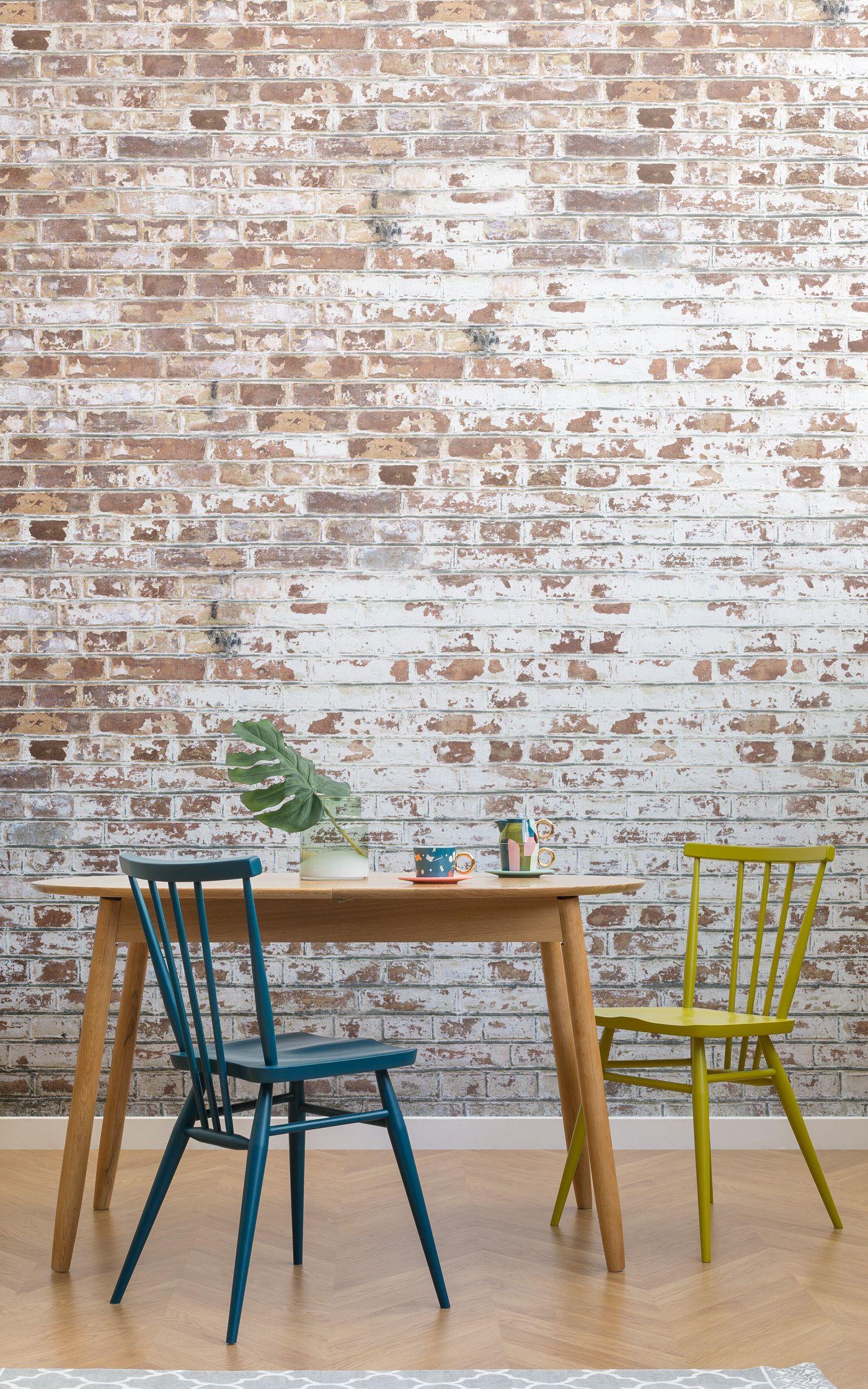 White Painted Brick Wallpaper Mural Murals Wallpaper Painted Brick Walls Brick Wallpaper Dining Room Wallpaper