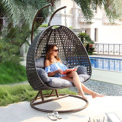 Enjoyable 2 Person Outdoor All Weather Hanging Egg Chair Pe Wicker Home Interior And Landscaping Ologienasavecom