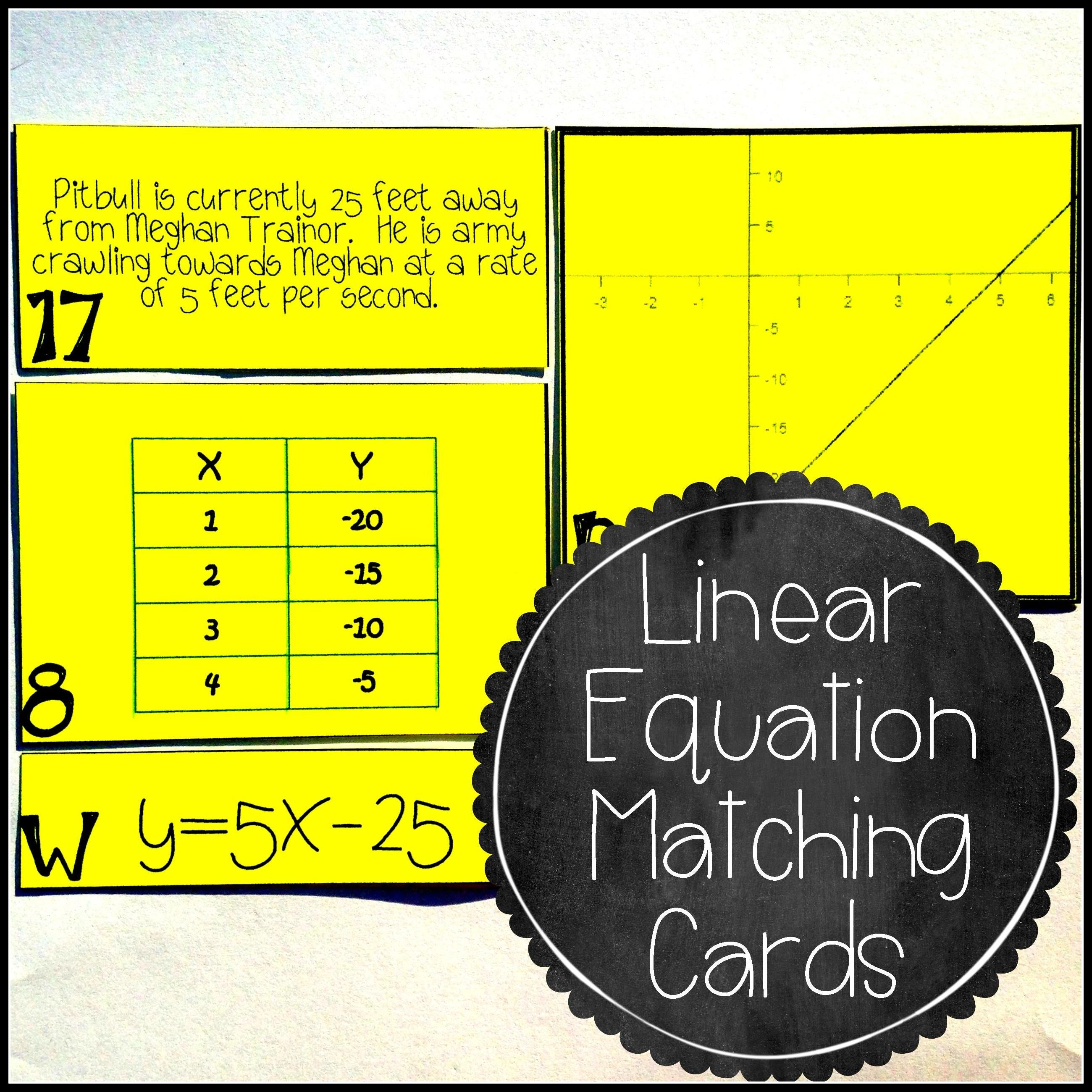 Linear Equation Card Match Activity Slope Intercept Form