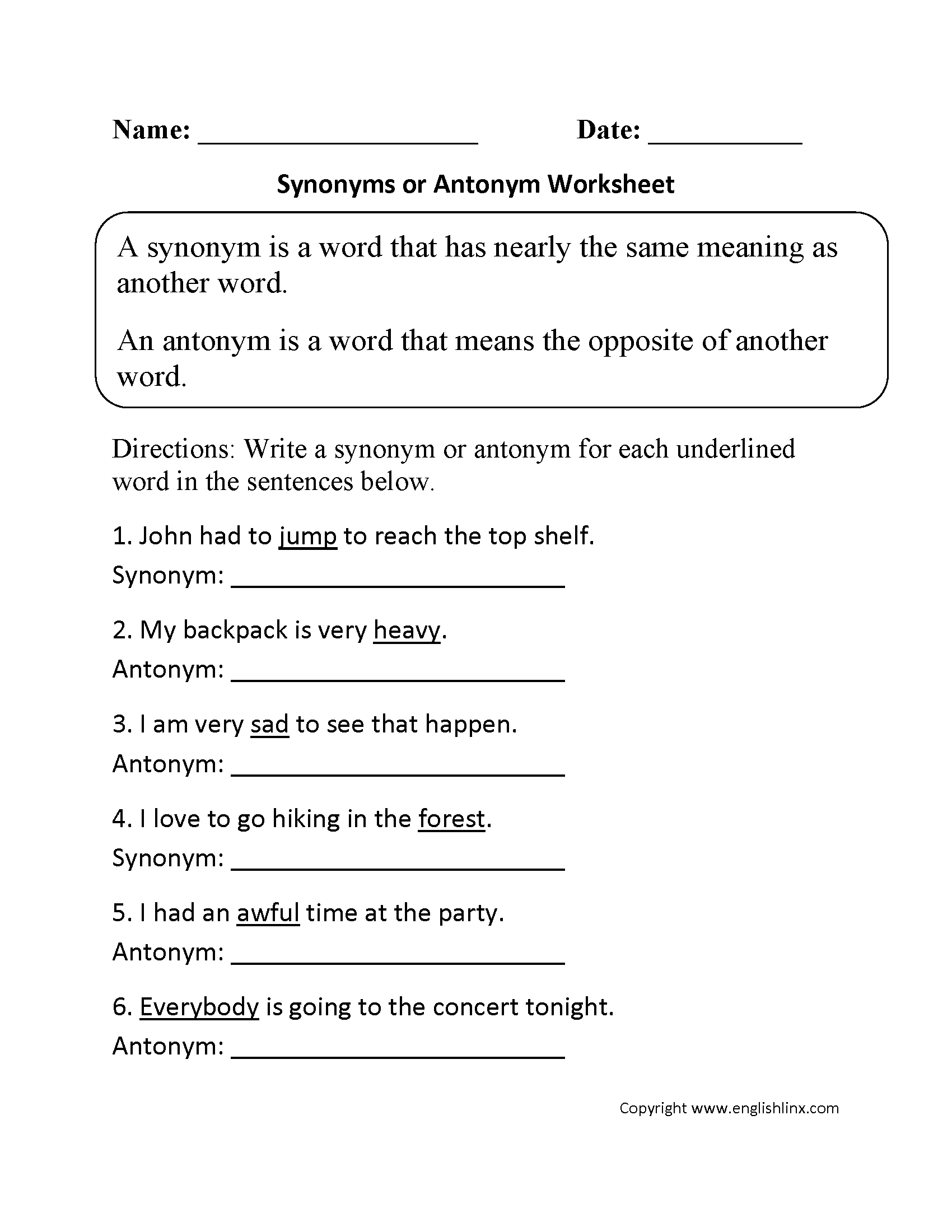 Synonym Or Antonym Worksheet With Images