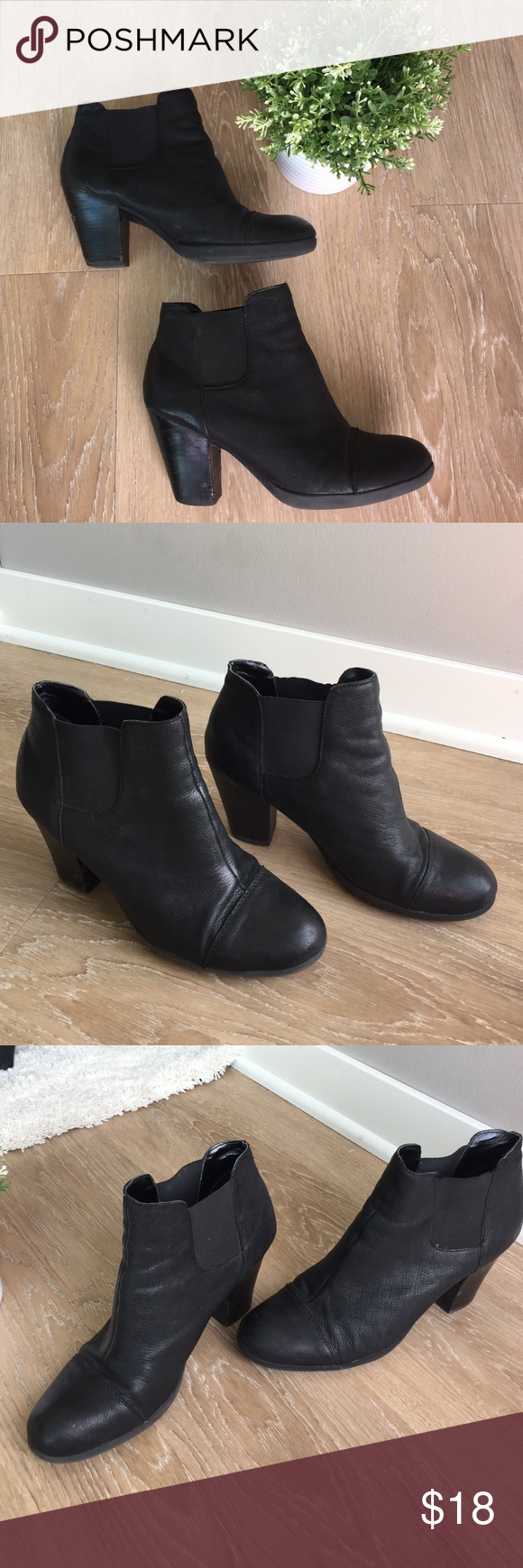 Black booties! In good condition! A few scuffs on the heels. 3 1/2 inches tall. 10% off bundle of 3 or more items! No trades. Smoke free home. Items also on merc! Make me an offer! ❤️😄 Kenneth Cole Reaction Shoes Ankle Boots & Booties