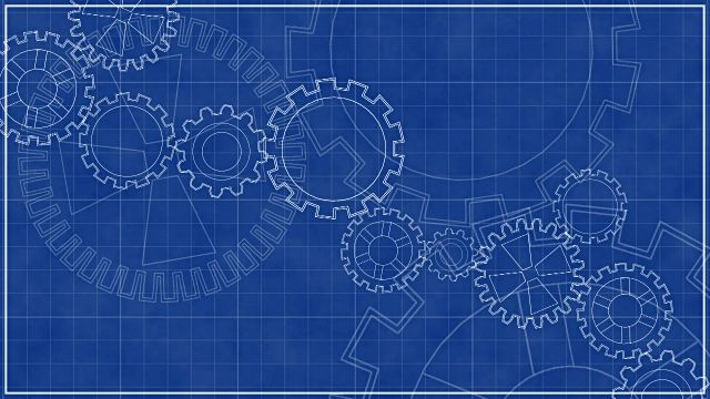 Blueprint with Spinning Gears, Technical Background. | Spin