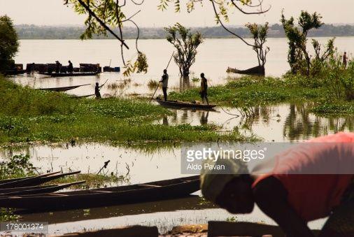 El Malí Barcos de Bamako Sobre el Río del Níger