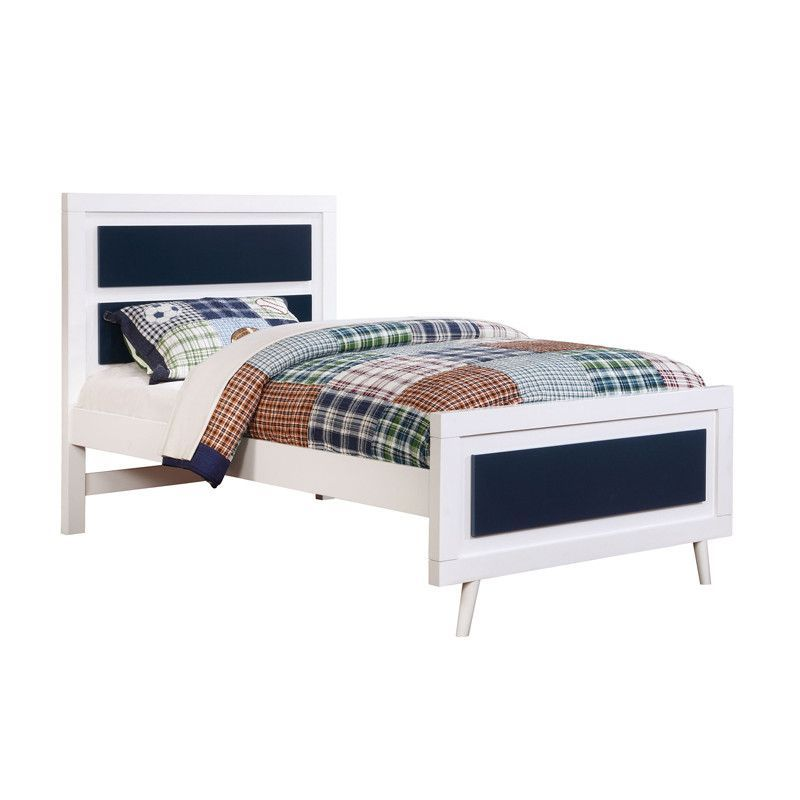 Alivia Blue & White Twin Size Bed