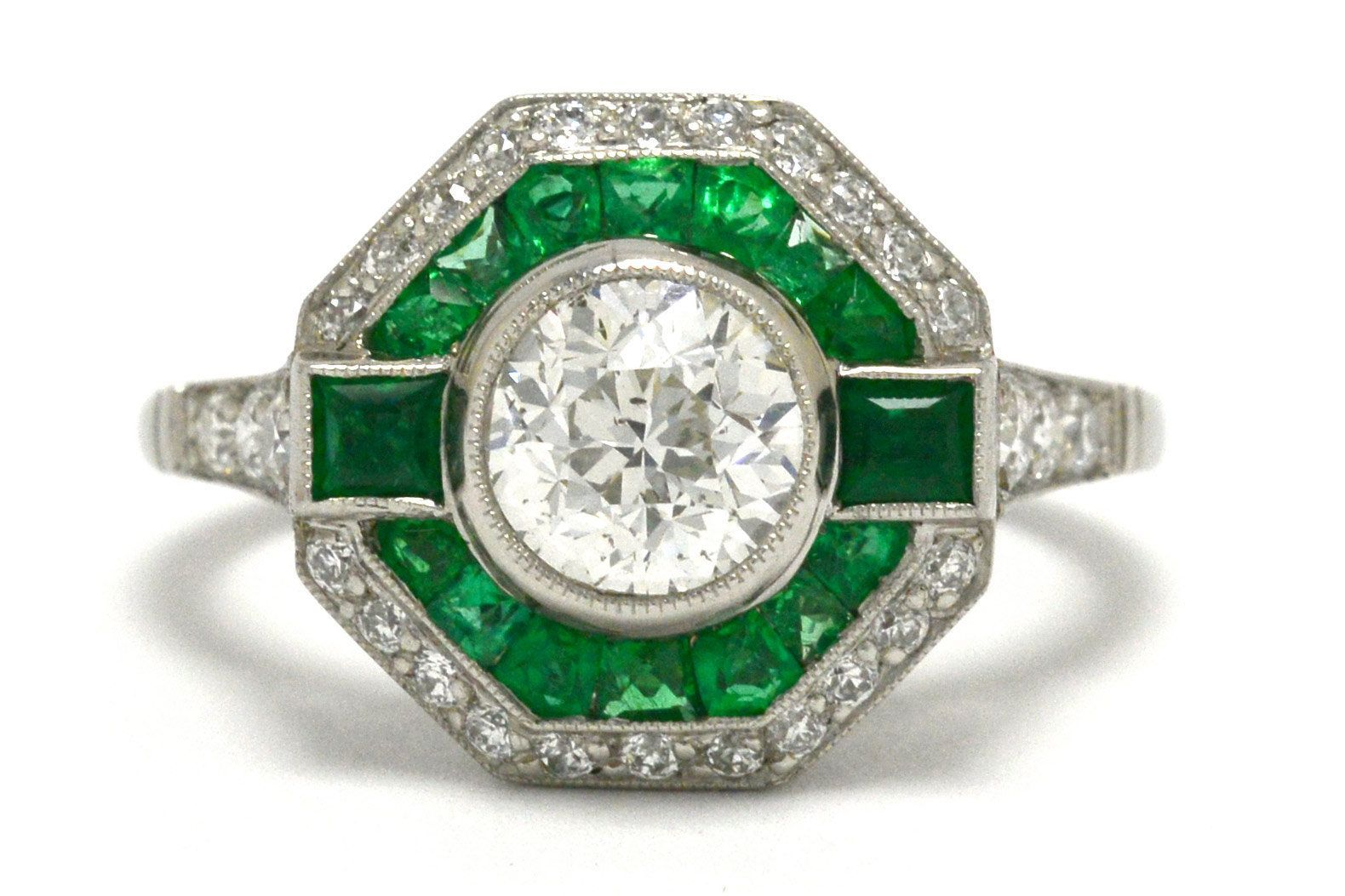 Dazzling Art Deco Transitional Round Diamond Emerald Halo Engagement Ring Geometric Octagon Platinum Vintage Cocktail Ring Statement Jewelry