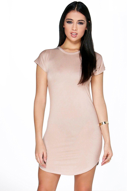 28352b4d72 Taylor Curved Hem Roll Sleeve TShirt Dress Pink Bodycon Dresses, Boohoo  Dresses, Bodycon Dress