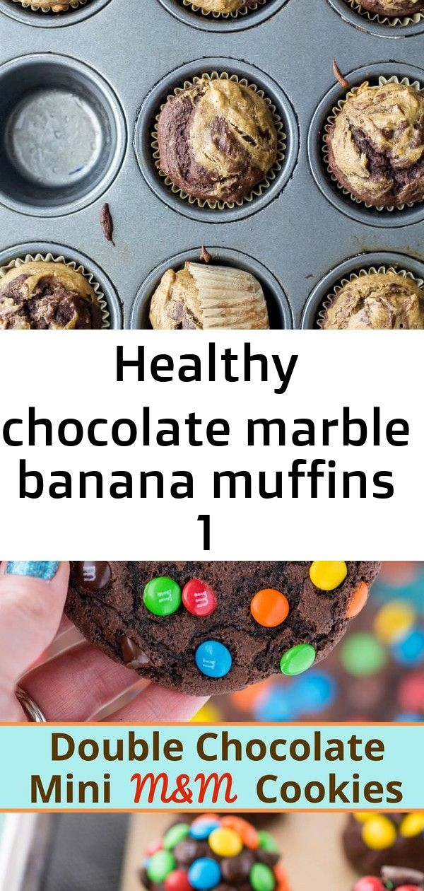 Healthy chocolate marble banana muffins 1 Healthy Chocolate Banana Muffins naturally sweetened with maple syrup only 115 calories These moist marble muffins have swirls o...