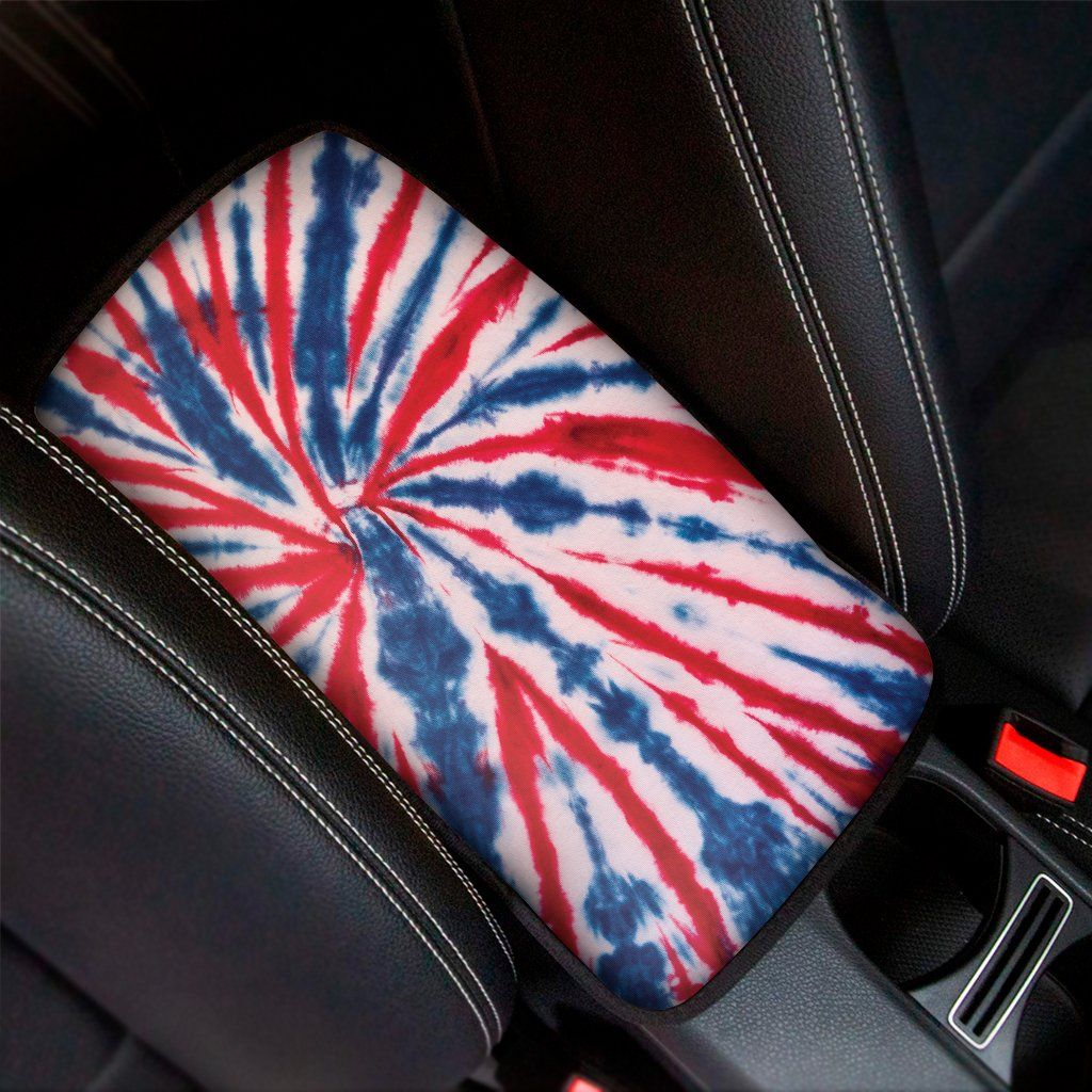 Red And Blue Spider Tie Dye Print Car Center Console Cover Gallery