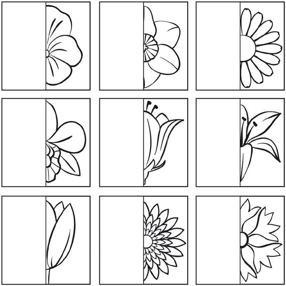 Teken de andere helft van de bloem... | school lente | Pinterest ...