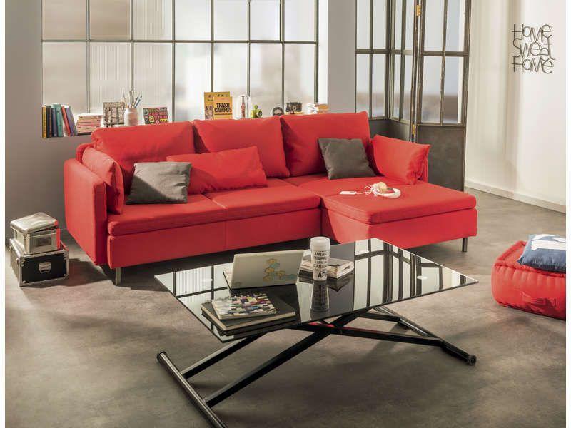Canapé du0027angle fixe droit 4 places RUBIX coloris rouge coussins gris - conforama salle a manger
